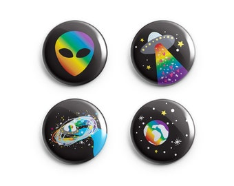 Rainbow Gay Pride Alien Pins + Magnets - Funny Queer Pin - Pinback Buttons - Rainbow Gaylien for Pride Queer Trans  Lesbian Celebration
