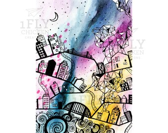 Watercolor + Ink Abstract Cityscape Art - Giclée Art Print - Doodle Art - Geometric Drawing - City Moon + Stars Painting - Pink Blue - 5x7