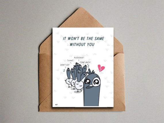 Sad Goodbye Card Printable Dirty Birds Pigeon Greeting Card From All Of Us Coworker Leaving Saying Farewell Instant Download