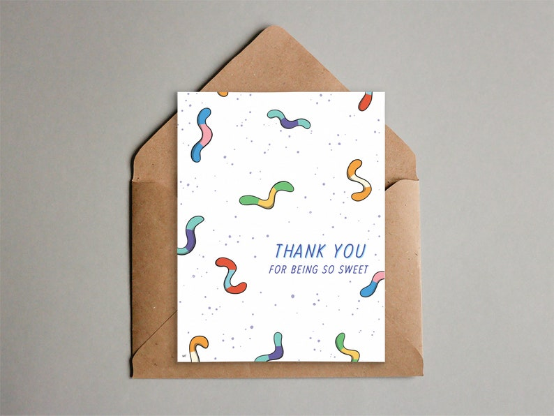 Printable Gummy Worm Thank You Card  Cute Candy Card  image 0