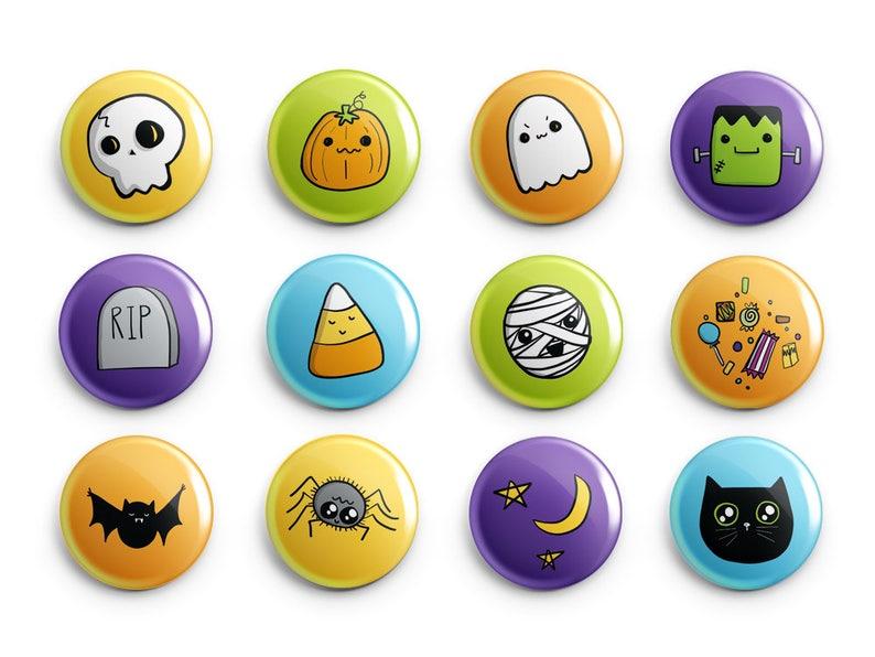 Cute Halloween Pin or Magnet Set  Kids Room  Black Orange image 0