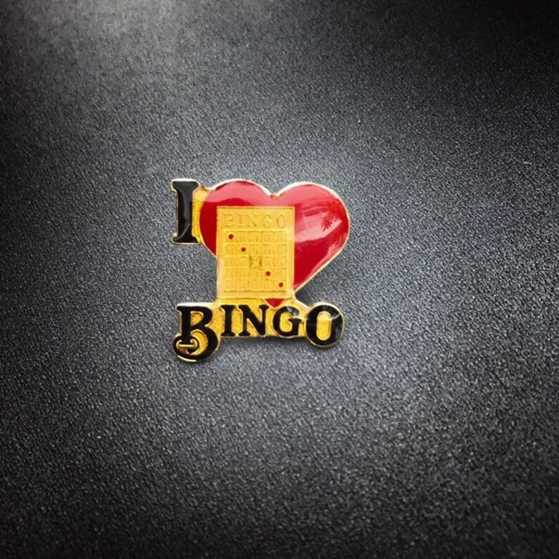 Vintage Bingo Pin  Gold Color I Love Bingo Enamel Pin  image 0