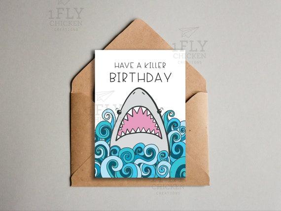 Shark Birthday Card Blue Ocean Theme Printable Funny Etsy