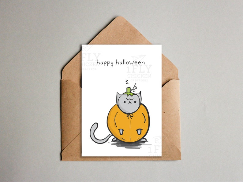 image about Happy Halloween Cards Printable named Grumpy Cat Pumpkin Halloween Card - Printable Pumpkin Cat Greeting Card - Joyful Halloween - Grumpy Cat Halloween Occasion - Obtain - 2 Measurements