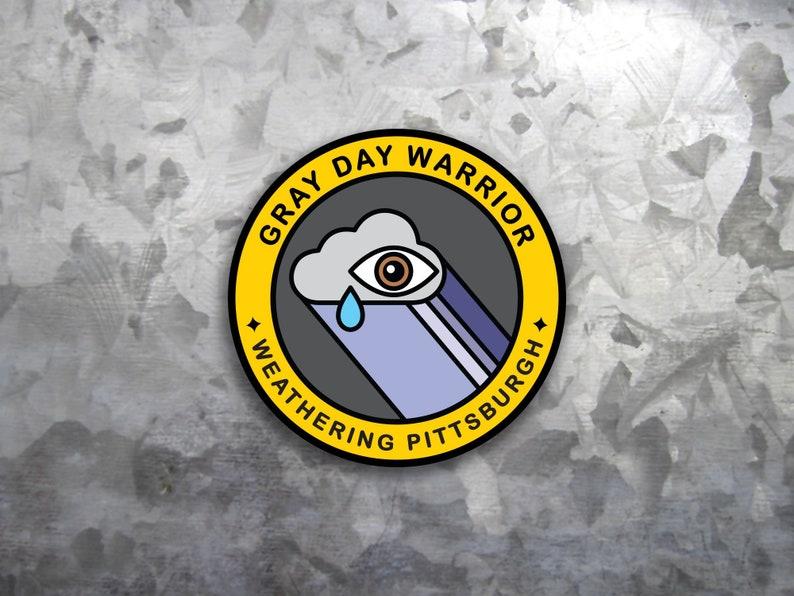Funny Pittsburgh Sticker Weather Merit Badge - Vinyl Sticker - Round Vinyl  Weatherproof- Yinzer Souvenir Laptop Sticker - Pittsburgh Decal