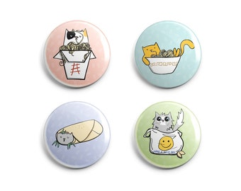 Cute Cats and Noodles Pin + Magnet Sets - Asian Food Lovers - Funny Cat Pins - Kawaii Cat Pins + Magnets - 1flychicken Gift - Cats + Food