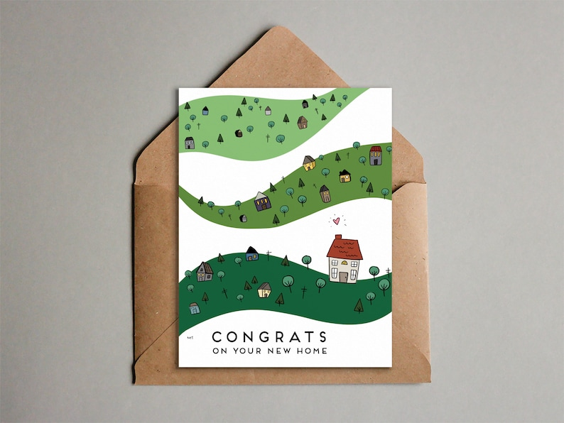 Printable Congrats on Your New Home Card  Cute Doodle image 0