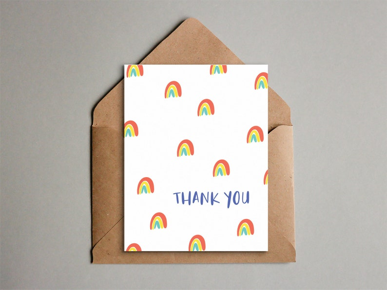 Printable Rainbow Thank You Card  Sweet Simple Design  image 0
