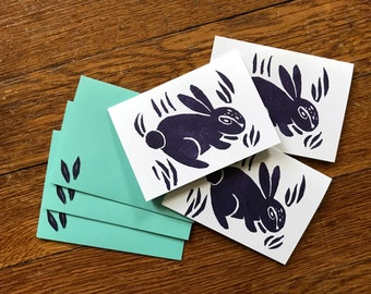 Set of 3 Handmade Purple Rabbit Gift Card Holders with Envelopes - Tiny Cards - Cute Bunny Block Print Stamp - Linocut Mini Cards