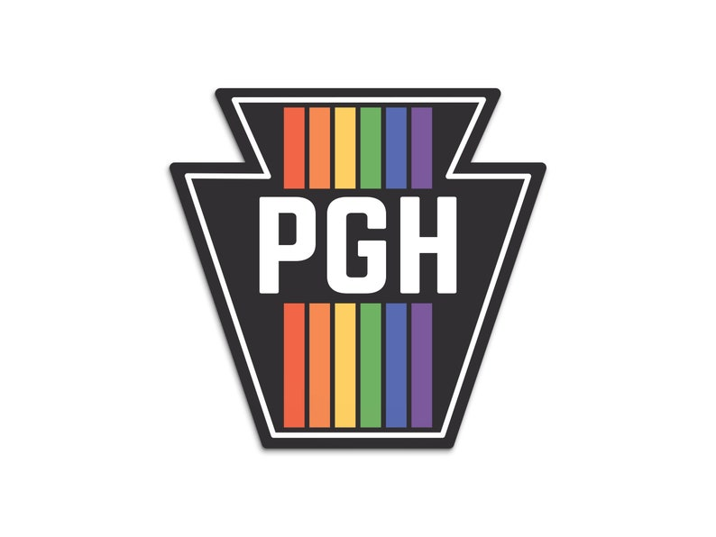 Pittsburgh Sticker  Retro Rainbow Keystone Sticker  image 0