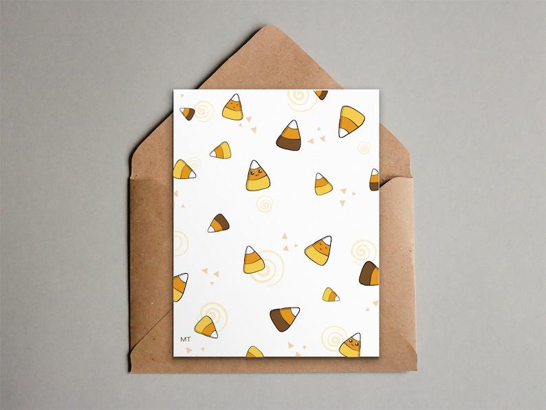 Candy Corn Halloween Card  Fall Stationery  Cute Kawaii image 0