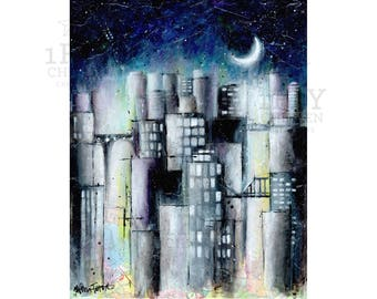Purple Night Sky Moon City Abstract Painting - Modern Urban Wall Art - Original Acrylic Cityscape on Maps - 8x10 Giclée Print