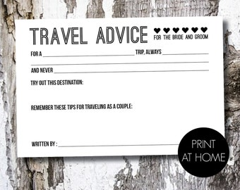 Marriage Advice Card / Travel Advice - Printable