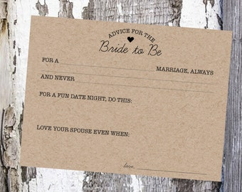 Advice for the Bride / Marriage Advice Cards
