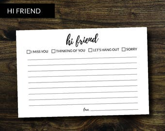 Note Cards for Friends - Hi Friend! Pack of 25