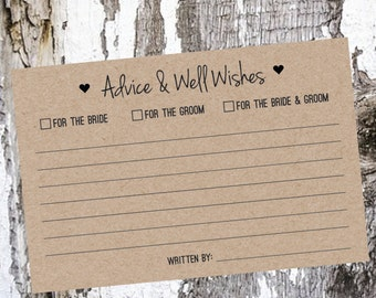 Wedding Advice Cards - Assortment Pack of 25 or 50 Cards