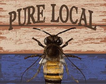 Local Honey Metal Sign, Bee, Rustic Décor, Kichen Décor  HB7245