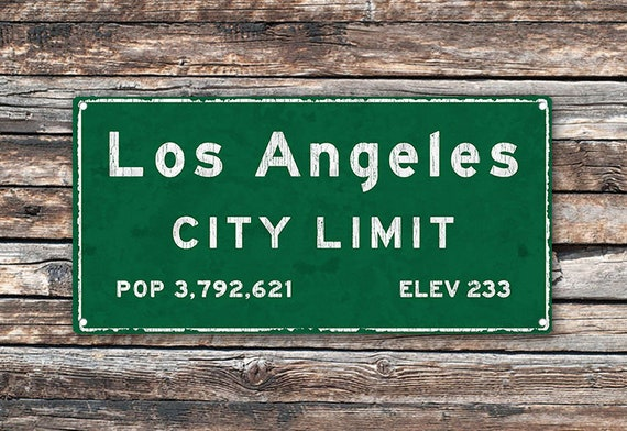 Los Angeles City Limit Metal Sign California Population Census Travel