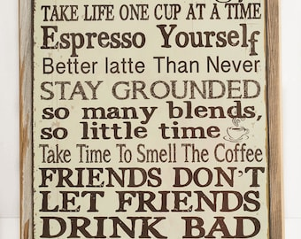 Framed Coffeeology Metal Sign Coffee Lovers, Kitchen Decor, Cafe Decor, HB7014F