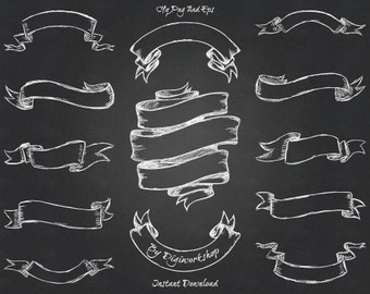 Chalkboard Clip Art Banners I Clipart With Hand Drawn Ribbons 2 Background