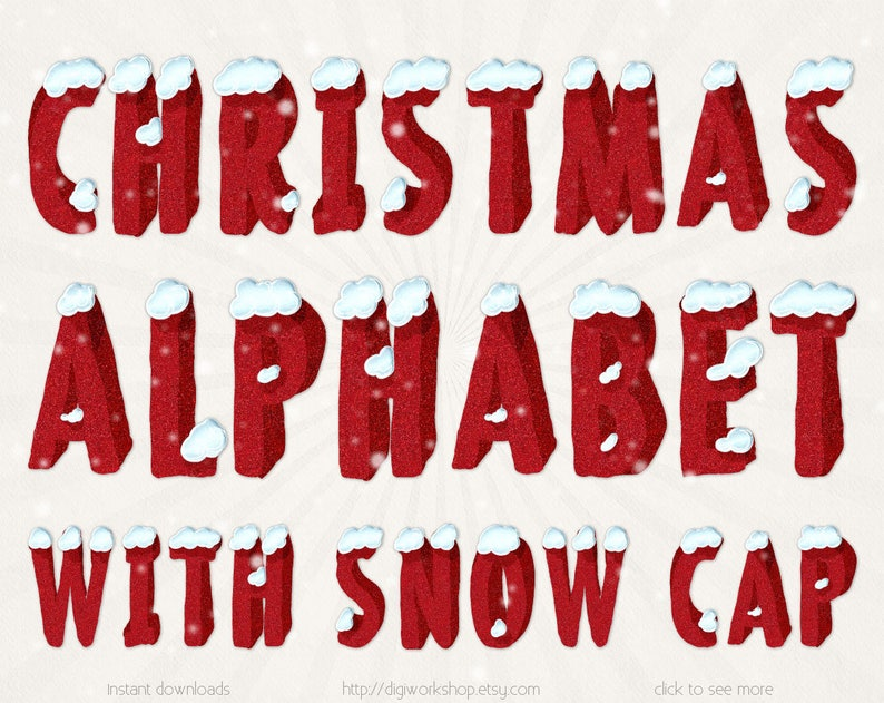 Christmas Alphabet.Christmas Alphabet With Snow Cap Clipart Clip Art Winter Red Alphabet Digital Winter Letters Red Alpha With Glitter Textures And Snow