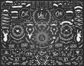 Chalkboard Clipart - Big Chalkboard Clipart contains chalkboard arrows, banners, crowns, deer and other chalk elements - 40 %!