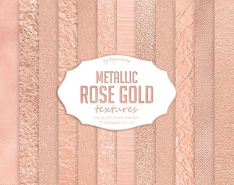 """Rose Gold Digital Paper: """"Rose Gold Textures"""" digital gold backgrounds with metallic textures in rose gold tones"""