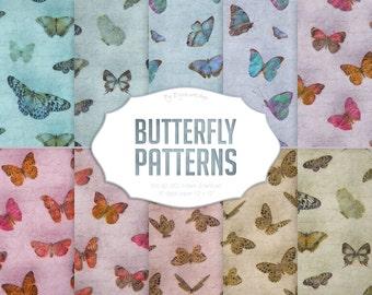 "Butterfly Digital Paper: ""Butterfly Patterns"" with digital patterns of butterfly, colored and slight grunge butterflies backgrounds"