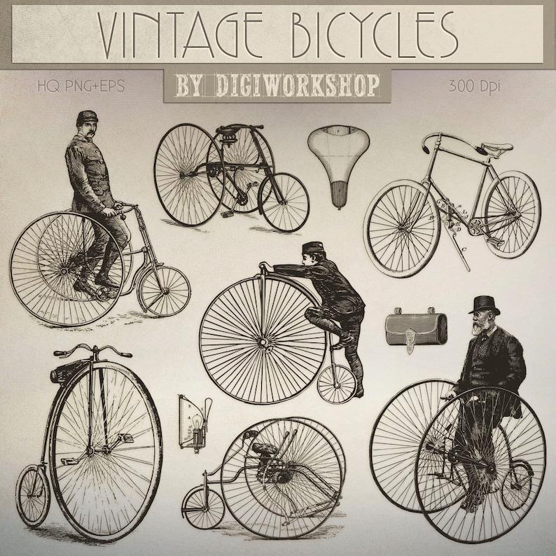 Clipart Di Biciclette Biciclette Vintage Retrò Etsy