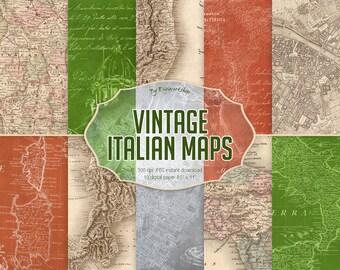 """Vintage Maps Digital Paper """"Vintage Italian Maps""""  digital antique maps, italian maps, vintage maps backgrounds, old maps, vintage paper"""