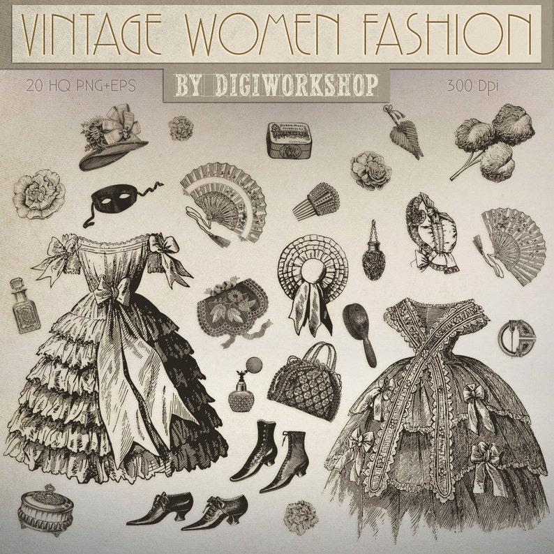 94dac624d0 Fashion Clip art  Vintage Women Fashion victorian