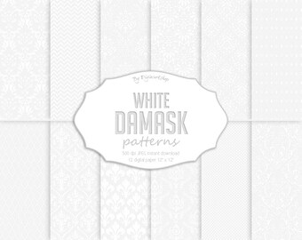 White Damask Digital Paper, floral backgrounds, set with white damask patterns