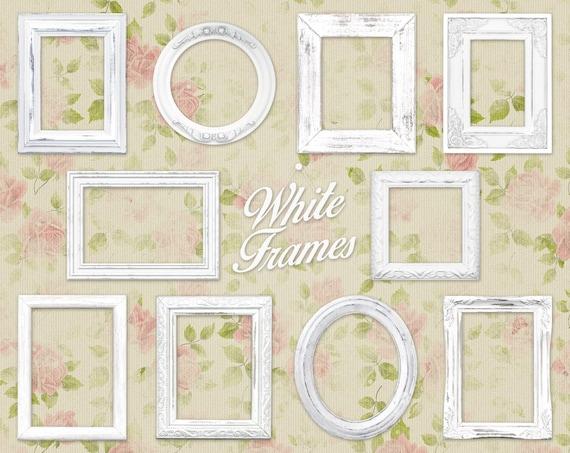 White Shabby Chic Picture Frame Clip Art Clipart: White | Etsy