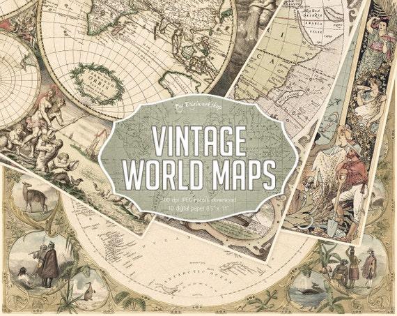 Vintage Maps Digital Paper -