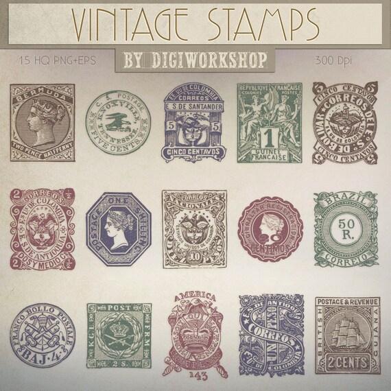 Postage Stamp Clip Art Clipart Vintage Stamps