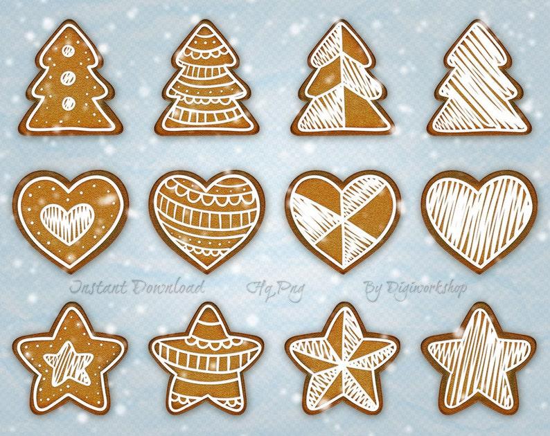 Digital Gingerbread Christmas Cookie Clip Art Clipart Christmas Cookies Instant Download Printable Holiday Winter Xmas Merry Christmas