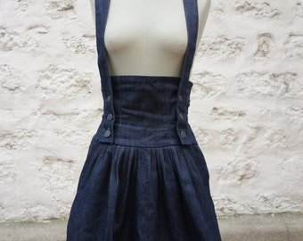 Jean's skirt high waisted with suspenders and lacing in the back