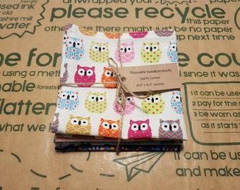 Reusable Handkerchiefs, Hankies, Napkins - Girl's print - 100% Cotton, Eco friendly, Zero waste, Plastic free