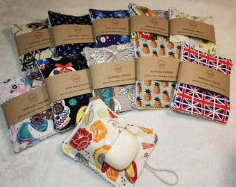 Soap holder, Soap bag, Soap saver - 2 pack - zero waste, reusable, 100% cotton, Eco friendly
