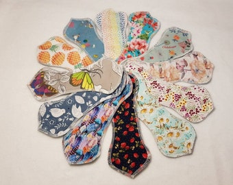 """8.5"""" Shaped Wingless Cloth Panty Liners & Pads, Reusable"""