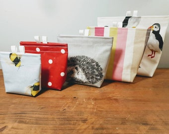 5 sizes - Oilcloth Velcro Fastening Snack bags, Lunch bags in 38 designs, Eco-friendly, Sustainable living, Zero waste, Reusable