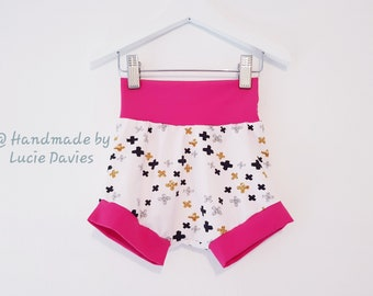 Made To Order - Boys, Girls, Unisex - Cuffed shorts, bloomers, over nappy pants, underwear, size 1 months - 6 years - Large range of fabrics
