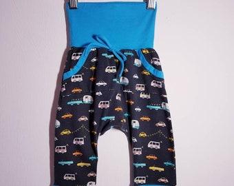 Made To Order - Boys, Girls, Unisex - GROW WITH ME Harem pants with kangaroo pocket, size 3-12 m, 1-3 yrs, 3-6 yrs - Large range of fabrics