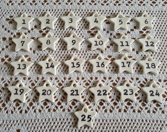DIY Handmade Christmas Advent Calendar Clay Stamped Numbers, Shabby Chic, Eco friendly, Plastic free, Re-usable