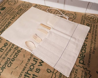 Travel cutlery pouch with bamboo cutlery, straw and napkin - zero waste, reusable, 100% cotton, eco friendly, plastic free