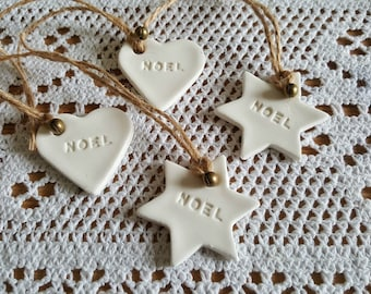 12 Handmade & Hand painted CLAY Christmas Gift Tags/Tree Decorations, Eco friendly, Plastic free, Re-usable