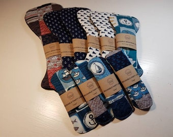 Small Starter Set - Reusable Menstrual Pads - Incontinence Pads - MUFFIN TOP SHAPE - Reusable Sanitary Pad, Zero Waste, Ecofriendly
