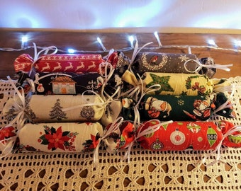 Guaranteed UK Christmas Delivery - Reusable Fabric Christmas crackers - 100% cotton, Eco friendly, Zero waste, Plastic free