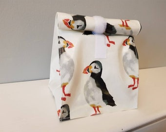 Zero waste Reusable Oilcloth Velcro fastening Lunch / Sandwich bag, Available in 42 designs, Eco-friendly, Sustainable living