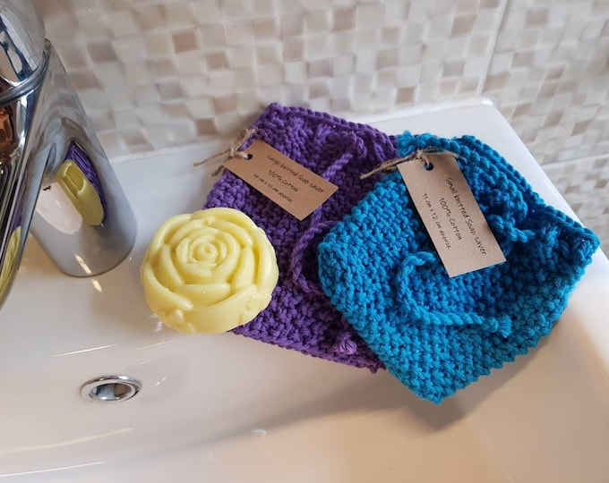 Knitted Soap holder/bag, Soap saver - Zero waste, Reusable, 100% cotton, Eco friendly